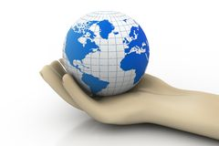 3d man holding earth. Isolated background Stock Photo