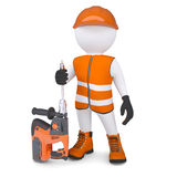 3d man holding electric perforator Stock Photography