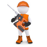 3d man holding electric perforator Royalty Free Stock Images