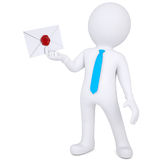 3d man holding an envelope in his hand Stock Photo