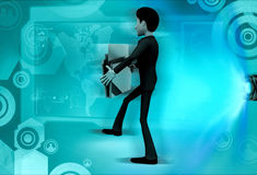 3d man holding file concept Royalty Free Stock Images