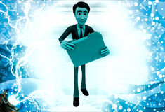 3d man holding file in hands illustration Royalty Free Stock Photo