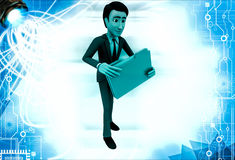 3d man holding file in hands illustration Stock Photography
