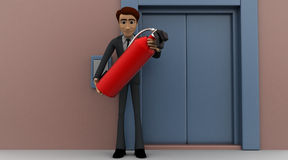 3d man holding fire extiguish in front of entrace door concept Royalty Free Stock Photography