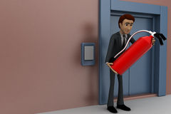 3d man holding fire extiguish in front of entrace door concept Royalty Free Stock Image