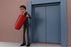 3d man holding fire extiguish in front of entrace door concept Stock Image