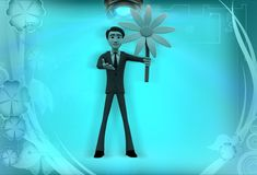 3d man holding flower illustration Royalty Free Stock Images