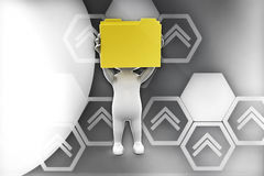 3d man holding folders in hands illustration Stock Photo
