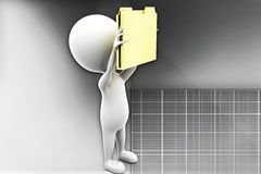 3d man holding folders in hands illustration Royalty Free Stock Image