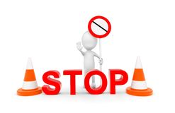 3d man holding forbidden sign in hand and showing stop hand gesture - stop board and traffic cones concept vector illustration