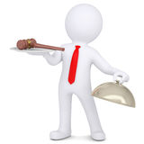 3d man holding a gavel on a platter. Isolated render on a white background Royalty Free Stock Photos