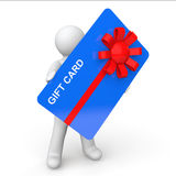3d man holding gift card Royalty Free Stock Photos
