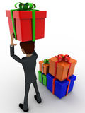 3d man holding gift on head and with many other gifts concept Stock Photos