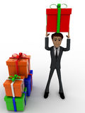3d man holding gift on head and with many other gifts concept Stock Photography