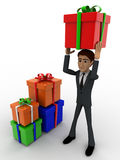 3d man holding gift on head and with many other gifts concept Royalty Free Stock Image