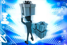 3d man holding gift on head and with many other gifts illustration Stock Photos