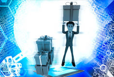 3d man holding gift on head and with many other gifts illustration Stock Images