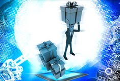 3d man holding gift on head and with many other gifts illustration Royalty Free Stock Photos