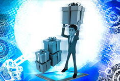 3d man holding gift on head and with many other gifts illustration Royalty Free Stock Images