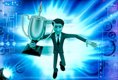 3d man holding golden award cup illustration Royalty Free Stock Image