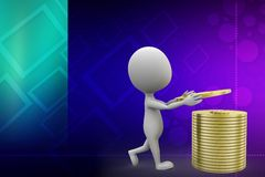 3d man holding golden coin illustration Royalty Free Stock Image