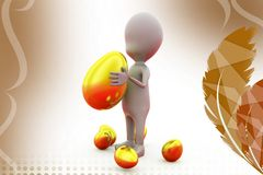 3d man holding golden egg  illustration Stock Photos