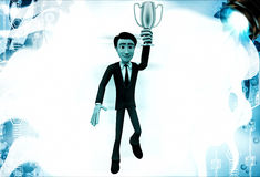 3d man holding golden prize cup illustration Royalty Free Stock Photography