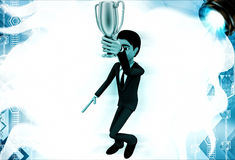 3d man holding golden prize cup illustration Stock Photo
