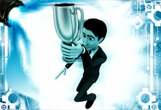 3d man holding golden prize cup illustration Stock Photography