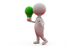 3d man holding green bulb concept Stock Photography