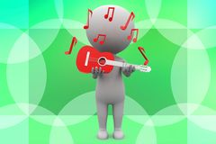3d man holding guitar illustration Royalty Free Stock Photo