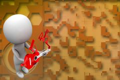 3d man holding guitar illustration Stock Photography