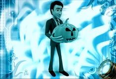 3d man holding halloween pumpkin illustration Royalty Free Stock Photography