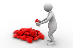 3d man holding heart in his hands. In white color background Royalty Free Stock Images