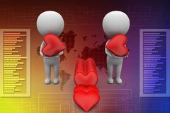 3d man holding hearts illustration Stock Image