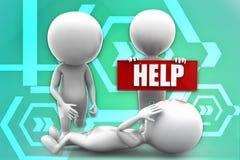 3d man holding help board illustration Stock Image
