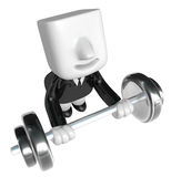 3d man holding his metal big barbell . 3D Square Man Series. Royalty Free Stock Photography