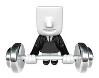 3d man holding his metal big barbell . 3D Square Man Series. Stock Images