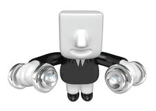 3d man holding his metal small dumbbell. 3D Square Man Series. Stock Images