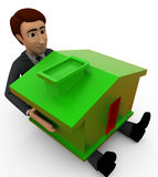 3d character holding house toy concept Royalty Free Stock Photography