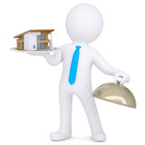 3d man holding a house on a platter Stock Photo