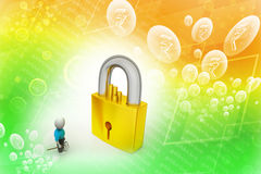 3D man holding a   key and padlock Royalty Free Stock Photo