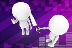 3d man holding knife threatening illustration Stock Images