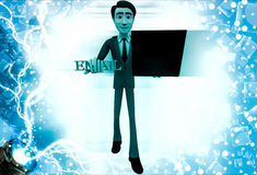 3d man holding laptop and email text illustration Stock Photo
