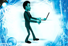 3d man holding laptop and email text illustration Royalty Free Stock Image