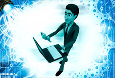3d man holding laptop and email text illustration Royalty Free Stock Images