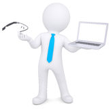 3d man holding a laptop and Google Glass Royalty Free Stock Photography