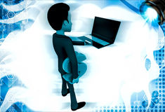 3d man holding laptop in one hand and dollar symbol in another hand illustration Stock Image