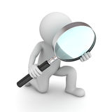 3d man holding magnifying glass. Over white background vector illustration