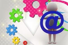 3d man holding mail icon  illustration Stock Photography